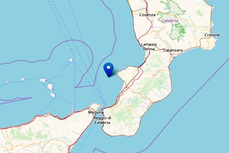 Sisma 3.7 in mare al largo di Vibo Valentia avvertito anche a Messina