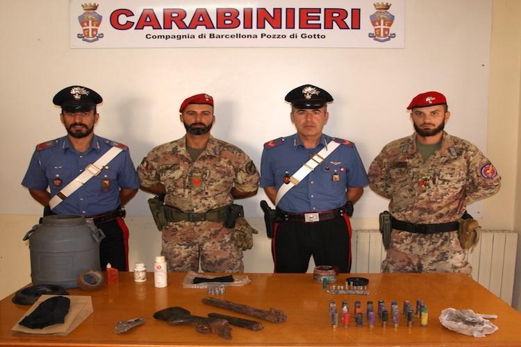 Barcellona P.G. Rinvenute armi e munizioni, due arresti per furto di energia elettrica