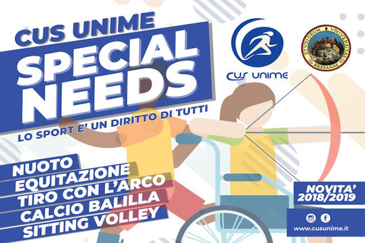 """""""CUS UniMe – Special Needs"""", attività sportive rivolte al mondo delle disabilità"""