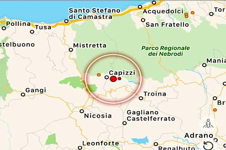 Scossa di terremoto magnitudo 3.5 registrata a Capizzi